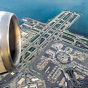 Flying high above the SFO San Francisco Airport. Air traffic is increasing worldwide. In 2006, seven percent of the global CO2 emissions came from commercial air traffic, and is expected to surpass fifteen percent by 2050.
