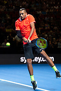 SYDNEY, NSW - JANUARY 07: Nick Kyrgios (AUS) hits a backhand at The Sydney FAST4 Tennis Showdown on January 07, 2018, at Qudos Bank Arena in Homebush, Australia. (Photo by Speed Media/Icon Sportswire)