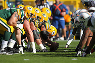 GREEN BAY, WI - OCTOBER 17: Players of the Green Bay Packers line up against players of the Miami Dolphins at Lambeau Field on October 17, 2010 in Green Bay, Wisconsin. The Dolphins defeated the Packers 23-20 in overtime. (Photo by Tom Hauck/Getty Images) *** Local Caption ***