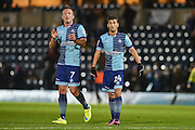 Wycombe Wanderers Midfielder, Scott Kashket (24) goalscorer celebrates at the final whistle with Wycombe Wanderers Forward, Garry Thompson (7) during the EFL Sky Bet League 2 match between Wycombe Wanderers and Hartlepool United at Adams Park, High Wycombe, England on 26 November 2016. Photo by Adam Rivers.