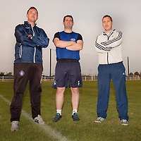 Clare Soccer Management Team. LtoR: Keith Higgins (Sports Scientist) Mick Sheils (Manager) John Earls (Physio)