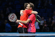 Henri Kontinen (Finland) and John Peers (Australia) celebrate their victory during the doubles final of the Barclays ATP World Tour Finals at the O2 Arena, London, United Kingdom on 20 November 2016. Photo by Phil Duncan.