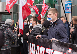 November 5, 2016 - Warsaw, Poland - Supporters of Right Wing Movement protest against events, groups and profiles blocked by Facebook in front of the Facebook Office in Warsaw, Poland on November 05, 2016. (Credit Image: © Mateusz Wlodarczyk/NurPhoto via ZUMA Press)