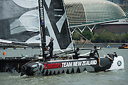 Emirates Team New Zealand practice for the first of the Extreme Sailing Series regattas being sailed in Singapore. 19/2/2014
