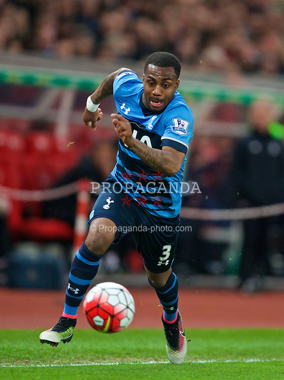 STOKE-ON-TRENT, ENGLAND - Monday, April 18, 2016: Tottenham Hotspur's Danny Rose in action against Stoke City during the FA Premier League match at the Britannia Stadium. (Pic by David Rawcliffe/Propaganda)