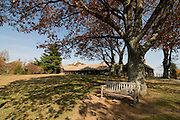 Calm place with bench and building in the background. Shenandoan Nationalpark. Virginia. United States of America.