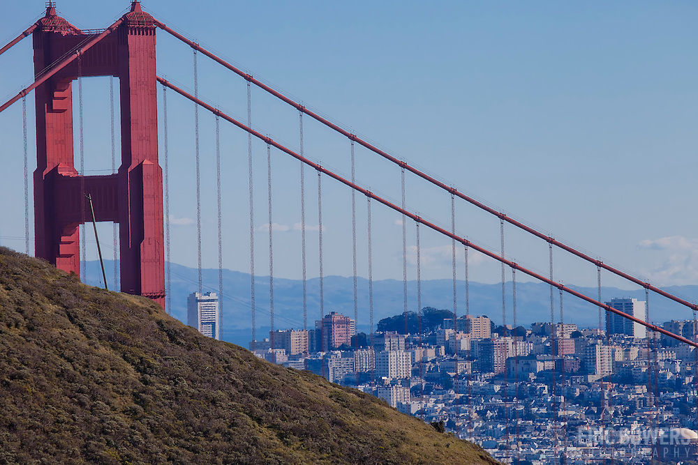 Golden Gate Bridge and San Francisco from Marin Headlands, California.