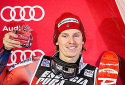 """Third placed Henrik Kristoffersen (NOR) celebrates at Trophy ceremony after the 2nd Run of FIS Alpine Ski World Cup 2017/18 Men's Slalom race named """"Snow Queen Trophy 2018"""", on January 4, 2018 in Course Crveni Spust at Sljeme hill, Zagreb, Croatia. Photo by Vid Ponikvar / Sportida"""