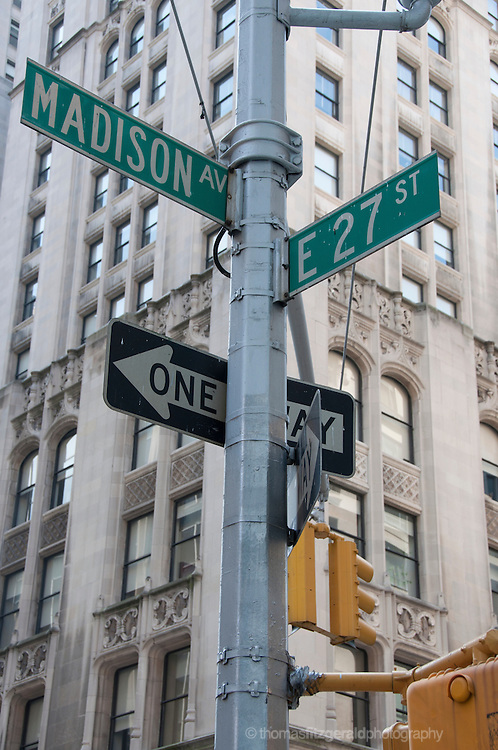 Street Signs at the junction of Madison Avenue and East 27th Street
