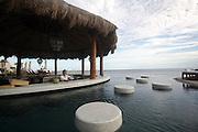 Pool bar at a luxury resort, barman offering a mango margarita