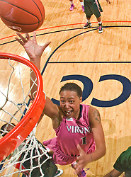 Virginia forward Lyndra Littles (1) shoots a lay up against Miami.  The #21 ranked Virginia Cavaliers defeated the Miami Hurricanes 85-74 in overtime at the John Paul Jones Arena in Charlottesville, VA on February 19, 2009.