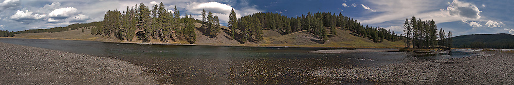 Yellowstone river panoramic photographed from the Nez Perce picnic grounds.