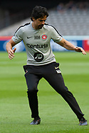 Western Sydney Wanderers strength and conditioning coach Marcelo Martins warms up at the Hyundai A-League Round 6 soccer match between Melbourne Victory and Western Sydney Wanderers at Marvel Stadium in Melbourne.