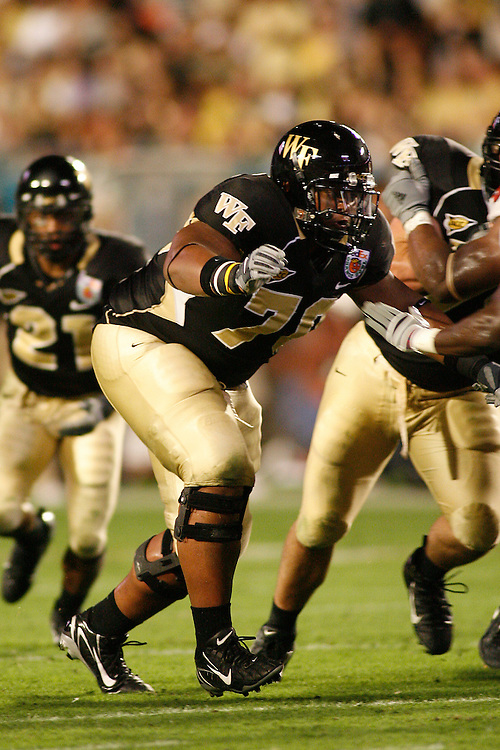 Wake Forest University offensive lineman Chris DeGeare looks to block an opponent during the Louisville Cardinals 24-13 victory over the Wake Forest Demon Deacons at the 2007 Orange Bowl Game on January 2, 2007 at the Dolphin Stadium in Miami, Florida.