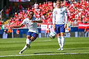 England forward Raheem Sterling (Manchester City) takes a free kick and hits the crossbar during the UEFA Nations League 3rd place play-off match between Switzerland and England at Estadio D. Afonso Henriques, Guimaraes, Portugal on 9 June 2019.