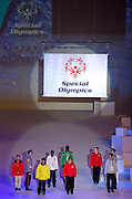 Official Flag while opening ceremony of the 10th Special Olympics World Winter Games in the Yongpyong Dome near Alpensia on January 29, 2013...South Korea, PyeongChang, January 29, 2013..Picture also available in RAW (NEF) or TIFF format on special request...For editorial use only. Any commercial or promotional use requires permission...Photo by © Adam Nurkiewicz / Mediasport