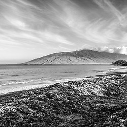 Maui Kamaole Beach and Maalaea Bay black and white photo in Wailiea Kihei Hawaii in the Hawaiian Islands. Copyright ⓒ 2019 Paul Velgos with All Rights Reserved.