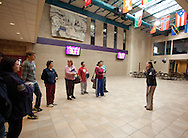 Trinity Renchin, student ambassador, leads a tour of prospective students and their parents during an open house in the Atrium at Waldorf College in Forest City, Iowa on Saturday, May 14, 2011.