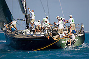 "Ket West Race Week 2007, Florida, USA. Day 2.IRC Class 1, Swan 601 ""Moneypenny"", drags the bowman back onboard"