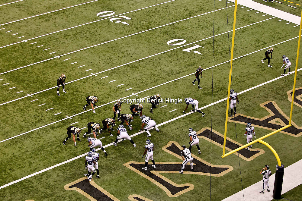 November 21, 2010; New Orleans, LA, USA; A general view as the New Orleans Saints offense lines up against the Seattle Seahawks defense during the first quarter at the Louisiana Superdome. Mandatory Credit: Derick E. Hingle