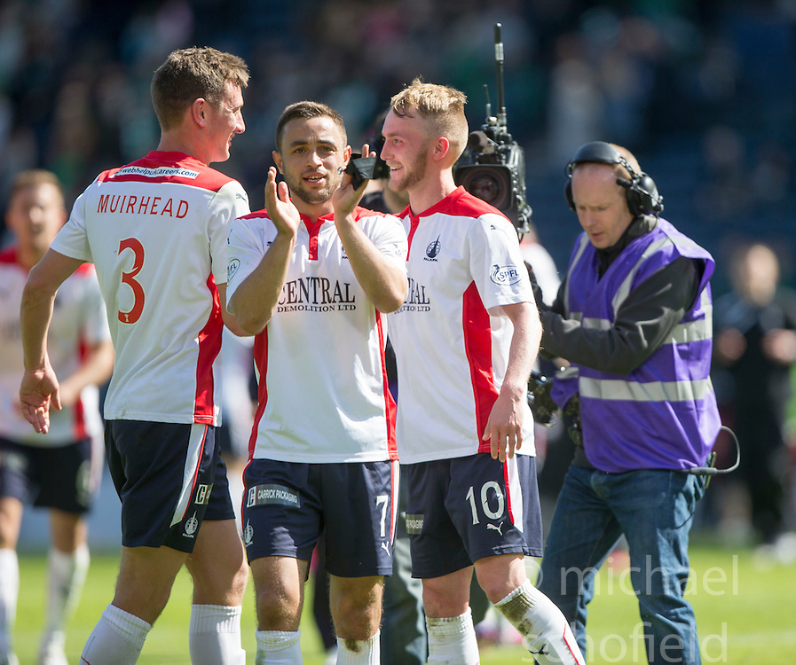 Falkirk's scorer Craig Sibbald (10) cele. Falkirk's players cele the win.<br /> Hibernian 0 v 1 Falkirk, William Hill Scottish Cup semi-final, played 18/4/2015 at Hamden Park, Glasgow.