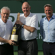 BNP Paribas Open CEO, Raymond Moore, ATP President, Chris Kermode, and tournament director, Steve Simon, present an award for the ATP Tournament of the Year at the Indian Wells Tennis Garden in Indian Wells, California on Sunday, March 15, 2015.<br /> (Photo by Billie Weiss/BNP Paribas Open)