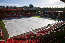 The MacLeod cover at The Valley is deflated and ready to be removed - Photo mandatory by-line: Robin White/JMP - Tel: Mobile: 07966 386802 08/02/2014 - SPORT - FOOTBALL - Charlton - The Valley - Charlton Athletic v Birmingham City - Sky Bet Championship