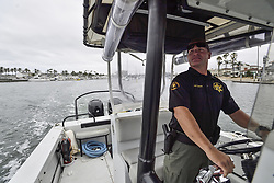 August 15, 2017 - Newport Beach, California, USA - OC Sheriff Sergeant Paul Ketcham searches for a lost juvenile whale in Newport Harbor on Tuesday morning in Newport Beach, California, on Tuesday, August 15, 2017. (Credit Image: © Jeff Gritchen/The Orange County Register via ZUMA Wire)