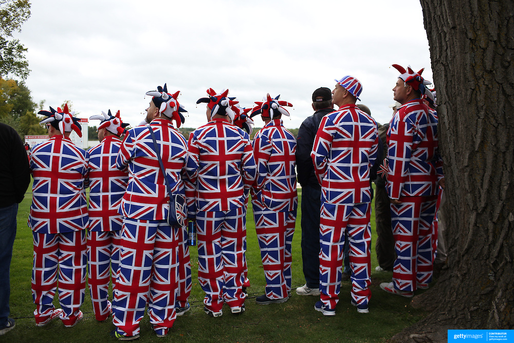 Ryder Cup 2016.  Fans wearing Great Britain outfits watching play during practice day at the Hazeltine National Golf Club on September 28, 2016 in Chaska, Minnesota.  (Photo by Tim Clayton/Corbis via Getty Images)