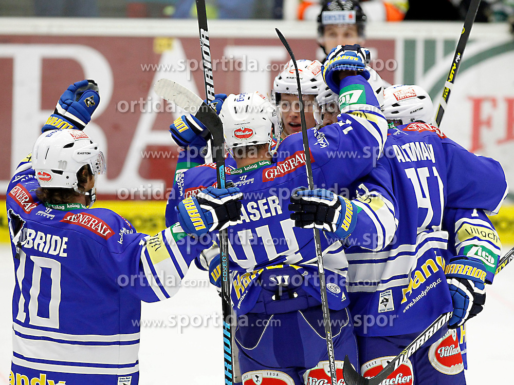 27.10..2013, Stadthalle, Villach, AUT, EBEL, EC VSV vs Moser Medical Graz99ers, 28. Runde, im Bild der Jubel des VSV // during the Erste Bank Icehockey League 28th round between EC VSV vs Moser Medical Graz99ers, at the City Hall, Villach, Austria, 2013/10/27, EXPA Pictures © 2013, PhotoCredit: EXPA/ Oskar Hoeher