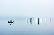 Fishing boat moored in Saco Bay, Saco, Maine, USA.