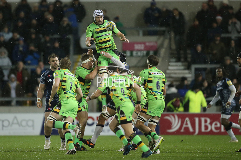 Sam Dickinson (Capt) catches the ball during the Aviva Premiership match between Sale Sharks and Northampton Saints at the AJ Bell Stadium, Eccles, United Kingdom on 25 November 2017. Photo by George Franks.