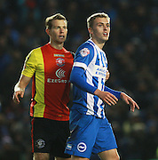 Birmingham City defender Jonathan Spector keeps tight to Brighton striker James Wilson during the Sky Bet Championship match between Brighton and Hove Albion and Birmingham City at the American Express Community Stadium, Brighton and Hove, England on 28 November 2015. Photo by Bennett Dean.
