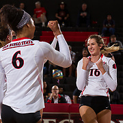09 November 2017:  The San Diego State Aztecs women's volleyball team hosts UNLV Thursday night at Peterson Gym. San Diego State middle blocker Baylee Little (16) celebrates after winning a point in the final set against UNLV. The Aztecs won 3-1 (25-18; 16-25; 25-12; 25-13).<br /> www.sdsuaztecphotos.com