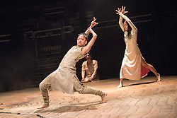 © Licensed to London News Pictures. 11/01/2016. London, UK. Khan's debut performance at the Roundhouse, Until the Lions is inspired by the ancient Sanskrit epic The Mahabharata and combines the Indian dance form Kathak with contemporary dance to explore themes of gender and sexuality. Featuring dancers (r-l) Ching-Ying Chien & Christine Joy Ritter. Photo credit : Tony Nandi/LNP