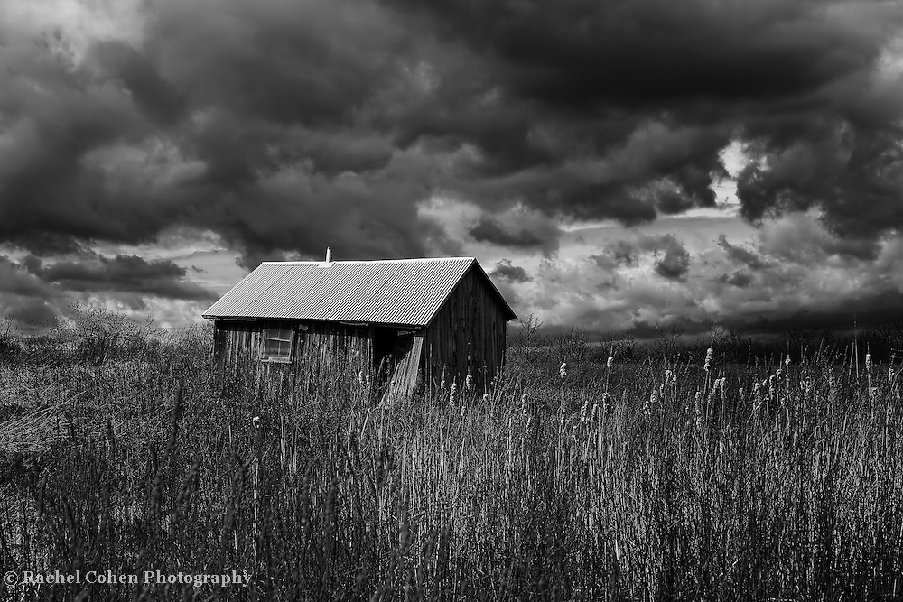 &quot;Overtaken by Clouds&quot;<br /> <br /> Dark and stormy skies above a Midwestern farm! An amazing black and white Michigan landscape!