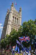A day after British Prime Minister Boris Johnson successfully asked the Queen to suspend (prorogue) Parliament in order to manoeuvre his Brexit deal with the EU in Brussels, Remain protesters stand with flags and banners while lunchtime TV interviews are filmed by broadcasters on College Green, on 29th August 2019, in Westminster, London, England.