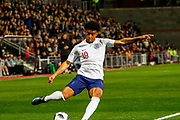 Reiss Nelson England U21s (Hoffenheim, loan from Arsenal) crosses from deep in the Scotland half during the U21 UEFA EUROPEAN CHAMPIONSHIPS match Scotland vs England at Tynecastle Stadium, Edinburgh, Scotland, Tuesday 16 October 2018.