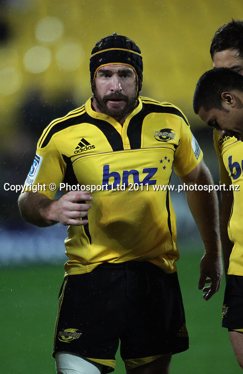 Andrew Hore calls his troops in before kickoff. Super 15 rugby match - Crusaders v Hurricanes at Westpac Stadium, Wellington, New Zealand on Saturday, 18 June 2011. Photo: Dave Lintott / photosport.co.nz