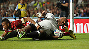 Fiji's wing Nemani Nadolo scoring Fiji's forst try to take the score to 15-5 during the Rugby World Cup Pool A match between England and Fiji at Twickenham, Richmond, United Kingdom on 18 September 2015. Photo by Matthew Redman.