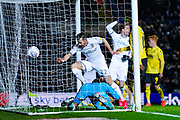 Leeds United forward Patrick Bamford (9) scores a goal to make the score 1-2 during the EFL Sky Bet Championship match between Leeds United and Millwall at Elland Road, Leeds, England on 28 January 2020.
