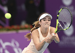 DOHA, Feb. 12, 2018  Catherine Bellis of the United States hits a return during the single's first round match against Daria Kasatkina of Russia at the 2018 WTA Qatar Open in Doha, Qatar, on Feb. 12, 2018. Catherine Bellis won due to Daria Kasatkina's retirement. (Credit Image: © Nikku/Xinhua via ZUMA Wire)