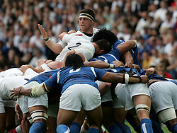 Andrew Sheridan of England complains to the referee. England v Samoa, Nantes, France, Rugby World Cup 2007, 22nd September 2007.