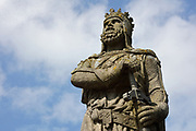 Statue of Robert the Bruce, 1274-1329, king of Scots 1306-29 and leader of the Scots during the First War of Scottish Independence against England, made 1876, by Andrew Currie, 1812-91, on the castle esplanade at Stirling Castle, Stirling, Scotland. Picture by Manuel Cohen