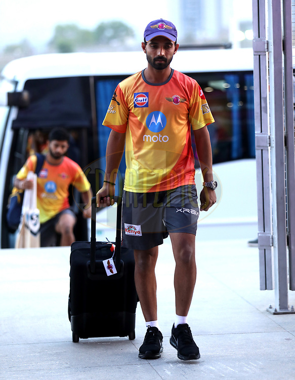 Ajinkya Rahane of Rising Pune Supergiant arrives for the  match 9 of the Vivo 2017 Indian Premier League between the Rising Pune Supergiants and the Delhi Daredevils held at the MCA Pune International Cricket Stadium in Pune, India on the 11th April 2017<br /> <br /> Photo by Sandeep Shetty- IPL - Sportzpics