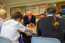 Pictured: John Swinney joined the literacy class led by teacher Michelle Brown, with students Ailsa Gear, Daniel Vancderyl, Oran Rogers, Sarah Rose Markie and Mark Watson<br /><br /><br />The Deputy First Minister visited Holy Rood High School in Edinburgh today to meet parents and pupils before announcing GBP50 million funding for improving attainment.  The results of a survey of headteachers were also published during the Deputy First Minister's visit.<br /><br /> Ger Harley | EEm 30 May 2019