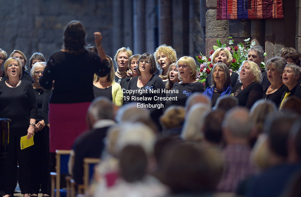 Edinburgh International Festival 2016<br /> <br /> The Edinburgh International Festival presents Songlines, a free participatory event celebrating the joy of singing. Songlines follows the success of the 2015 International Festival community event for brass bands, Fanfare<br /> <br /> St Mary&rsquo;s Church, Haddington.<br /> <br />  4 choirs performed at St Mary's, however of these 4 choirs, 3 sang together, and then 1 on its own during the performance, before all coming together for the finale.<br /> <br /> The 3 choirs were  Loud &amp; Proud, North Berwick Sings and Dunbar Sings (round 70 people)<br /> <br /> And the lone choir was Consort of Voices (16 people)<br />  with Soloist,  Amy Strachan and Accompanist,  Stuart Hope.<br /> <br /> <br /> <br />  Neil Hanna Photography<br /> www.neilhannaphotography.co.uk<br /> 07702 246823