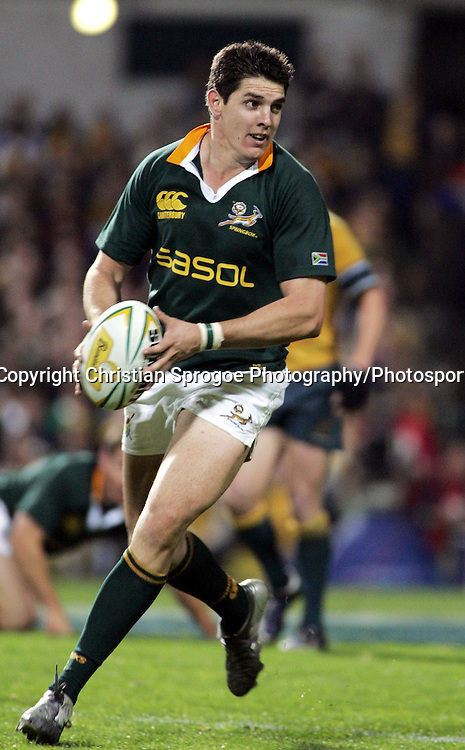 During the tri-nations match between Australia and South Africa at Subiaco oval, Perth Australia on Sat 20 August 2005. South Africa won 22-19. Photo:Christian Sprogoe/Photosport.