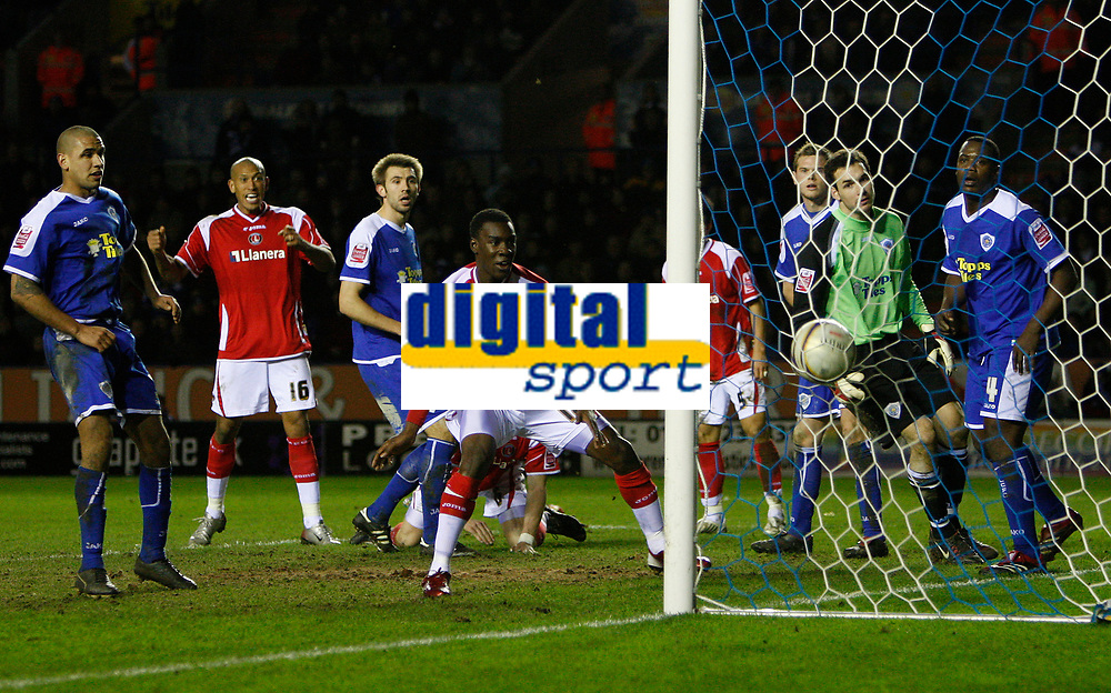 Photo: Steve Bond/Sportsbeat Images.<br />Leicester City v Charlton Athletic. Coca Cola Championship. 29/12/2007.  The ball drops into the net from Patrick McCarthy (obscured) overhead kick