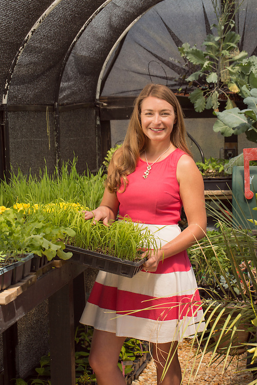 Brienne Gluvna is a leader in the foodscaping movement, emphasizing a balance of ornamentals and edibles for a visually appetizing result, pictured in her home garden in Fuquay-Varina, North Carolina, on Friday, April 8, 2016. <br />